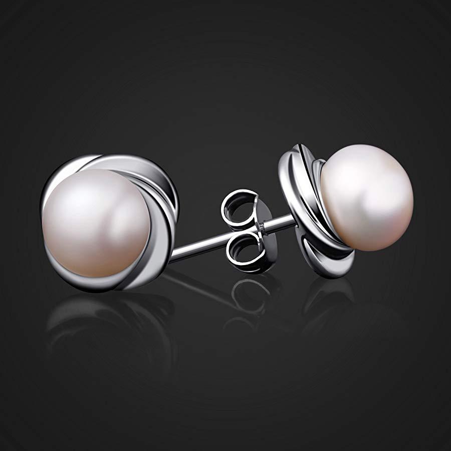 Pendientes de perla en forma de flor