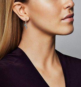 Pendientes de plumas de plata para mujer