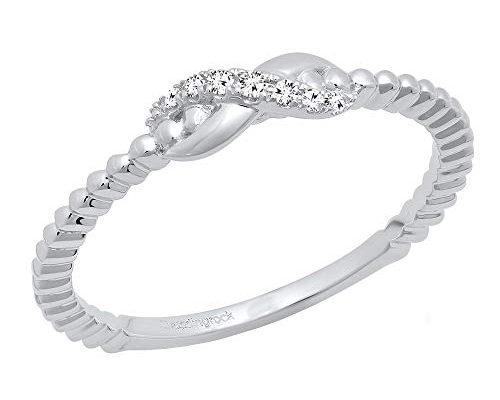 anillo infinito oro blanco con diamantes