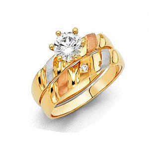 Paradise Jewelers Anillo de compromiso de oro macizo