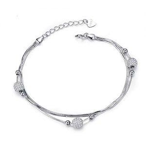 Pulsera de plata para mujer con adornos