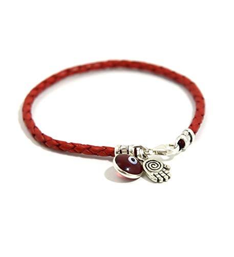 pulsera roja de cuero trenzado